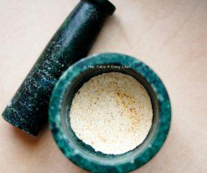 Powder the roasted urad dal and fenugreek mix