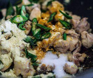 Burmese Khow Suey Steps - Adding gram flour and turmeric powder