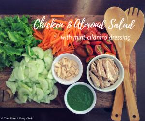 Chicken Almond Salad with Mint-Cilantro Dressing