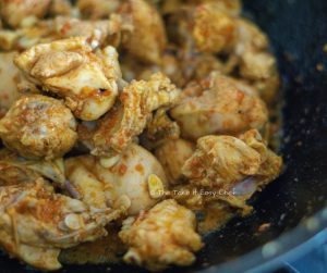 Garlic Chicken Steps - Flash-frying the chicken in the same pan