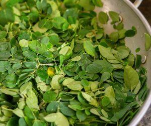 Moringa Leaves Stir-Fry Steps Image - Moringa leaves are cleaned