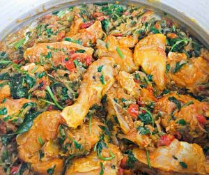 Chicken pieces added to the cooked masala