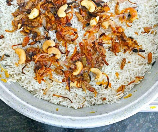 Thalassery chicken biryani is served