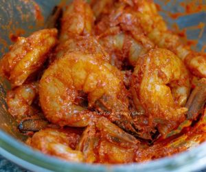 Chilli Fried Prawns Steps - Coating with marinade