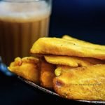 Banana Fritters (Pazham Pori) and a glass of tea