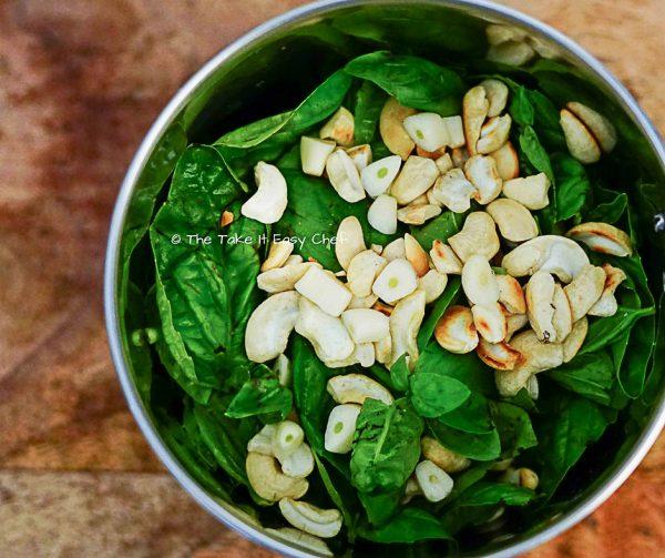 Pesto ingredients in the blender