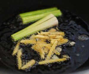 Fry lemongrass stalks and ginger