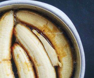 Place bananas into the hot caramel