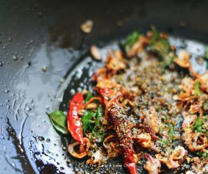 Six pepper medley added to the Pepper Coconut Chutney cooking