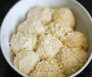 Dough proved before baking for the Pull Apart Cheesy Garlic Bread