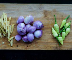Kerala Prawn Curry Recipe Step - Ginger, kanthari mulakku, and shallots for the marinade