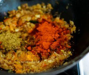 Liver Masala Curry Steps - Adding spice powders