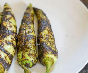 Chilli Bajji Pav Steps - Banana peppers (chilli bajji) is roasted