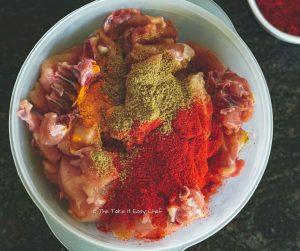 Chicken Perattu Steps - Add the chicken with spices