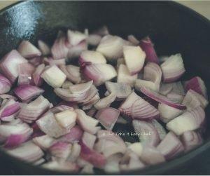 Mushroom Masala Steps - Frying onions in oil