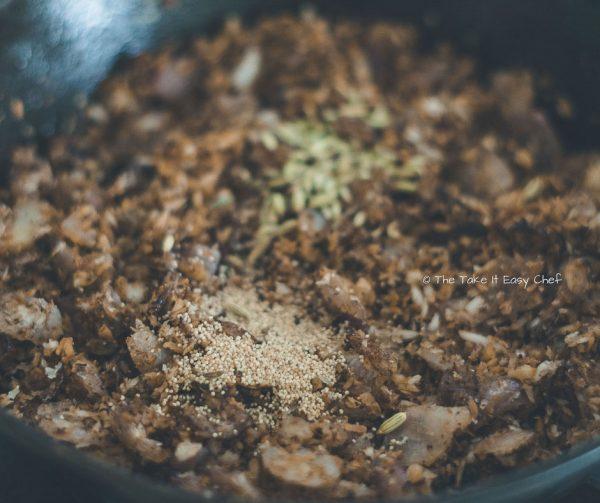 Mushroom Masala Steps - Adding khus khus and fennel seeds