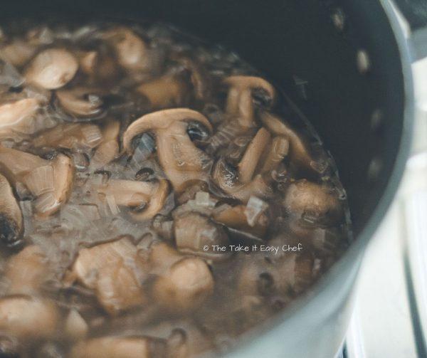 Mushroom Masala Steps - Cooked mushrooms just before adding the masala