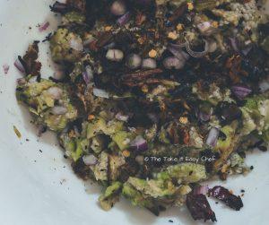 Vazhuthananga Udachathu (Roasted Brinjal Eggplant Aubergine Kerala Style) Steps - Ingredients ready to be mixed