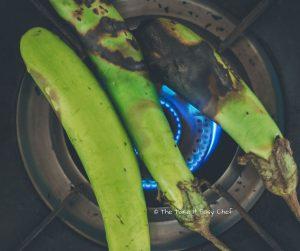 Vazhuthananga Udachathu (Roasted Brinjal Eggplant Aubergine Kerala Style) Steps - You can roast more than one at a go