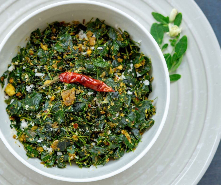 Picture of Moringa (drumstick) leaves stir-fry with grated coconut